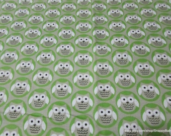 Flannel Fabric - Owl Circle Green - By the yard - 100% Cotton Flannel