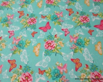 Flannel Fabric - Butterfly Lace Garden Teal - 1 yard - 100% Cotton Flannel