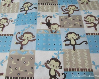 Flannel Fabric - Monkey Patches - 1 yard - 100% Cotton Flannel