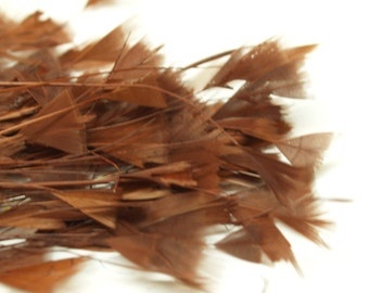 80pc x Bulk Millinery Feathers - Brown #1355