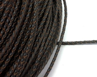 1 meter x 3mm Charcoal Braided Leather Cord