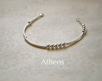 Athens Morse Code Sterling Silver Beaded Bracelet