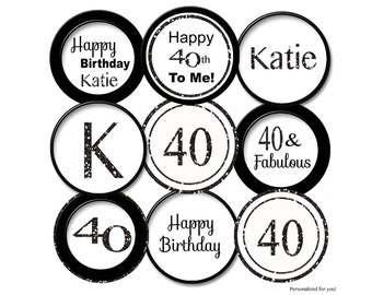 40th Birthday Cupcake Toppers  40th cupcake toppers Black Glitter 40th cupcake topper 40th favor tag /40th party 40  printable digital
