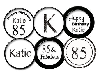 85th birthday Black Glitter 85th cupcake topper 85th favor tag / 85th party 85  printable digital