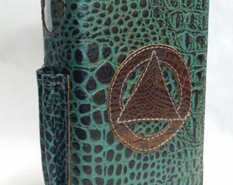 leather AA, Alcoholics Anonymous Big Book and 12&12 book cover