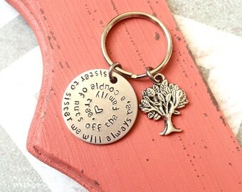 Sister to Sister Keychain - A couple of nuts off the family tree necklace - Sisters - Family Tree - Friends - Sister we will always be