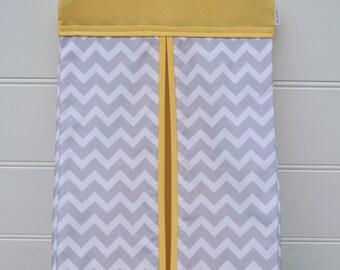 Nappy Stacker - Diaper Stacker with Yellow & Grey Chevron