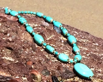 Howlite Turquoise Necklace.