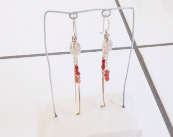 Silver earrings with corals