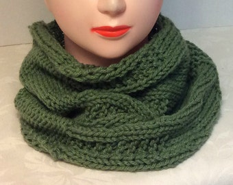 Green cowl knit scarf moss green cowl handmade scarf knit cowl warm scarf patterned cowl