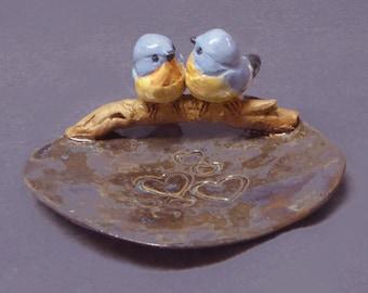Handmade Ceramic Dish with Blue Love Birds - Ring Holder, Jewelry Holder, Trinket Holder, Wedding Gift  Anniversary Gift  Romantic Art