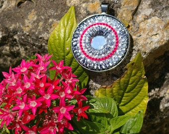 MANDALA Pendant Necklace Jewelry - Woven YARN Embroiderey with Indian Shisha Mirrors - Black Silver Gunmetal