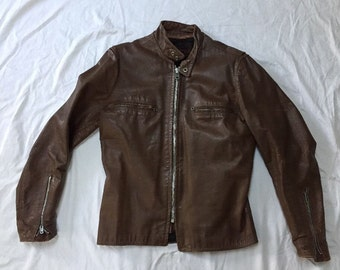 Vintage 1960s KEHOE Steerhide Leather Jacket Cafe Racer Brown Fleece Lined Tough Chic Nasty Woman Chocolate Brown Motorcycle