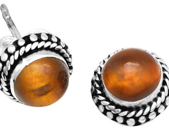 Tiger Eye Gemstone Stud Earrings Solid 925 Sterling Silver Jewelry IE21167