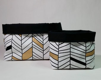 Fabric Storage Bins - Black White Gold Geometric Lines, Small/Large