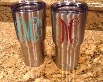 Monogram RTIC Tumbler cup 30 oz. like other popular brands for less. Great gift!