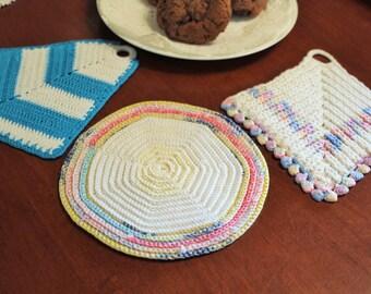 Very Vintage Pink and Blue Crochet Pot Holder with Trivet Pair -Linen-Cottage-Wedding-Kitchen