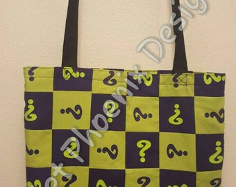 OOAK: Riddler Inspired Reclaimed Textile Reusable Tote/ Shopping Bag