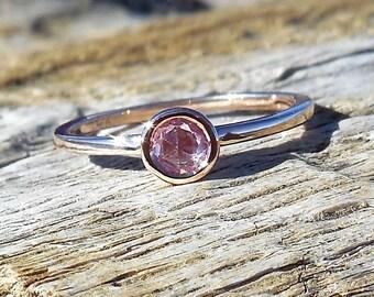 Unique .30ct Pink Rose Cut Sapphire Engagement Ring 14k Rose Gold Bezel Set