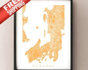 Newport Map Print - Rhode Island Poster