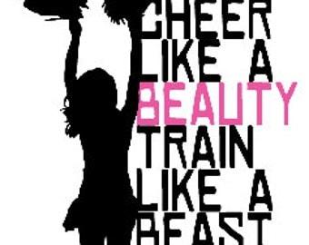 Cheer T Shirt/ Cheer Shirt/ Cheerleader T Shirt/ Cheerleader Shirt/ Cheer Like A Beauty Train Like A Beast Cheerleader Short Sleeve T-Shirt