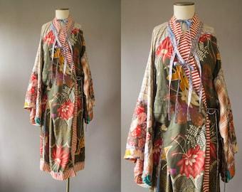 vintage 1980s kimono / KOOS mixed media cotton kimono /