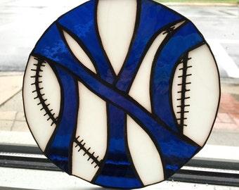 New York Yankees Baseball Logo Stained Glass Suncatcher
