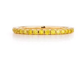 18K Yellow Sapphire Eternity Band 1.6mm 18K Yellow Sapphire Pave Half Eternity Ring 18K Yellow Sapphire Matching Band 18K Stacking Ring