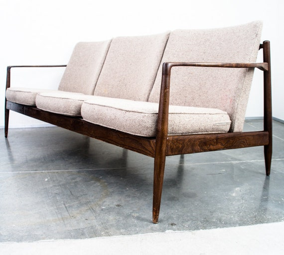 Items Similar To Sold Mid Century Danish Modern Couch Sofa Loveseat Vintage Retro Grey Tweed