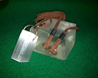 Medium Selenite Block Pendant with Brown Suede Leather