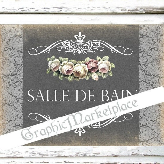 Chalkboard salle de bain bathroom sign door hanger download for Salle de bain door sign