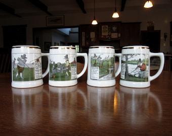 Four 1962 Golf Theme Beer Steins, Vintage Set, Delano Steins,Sports Mugs,Tankards Barware,Gifts for Men,Golfers,Humorous,Drinking, Golf Gift