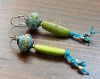 Margaritaville earrings - Dangle, Bohemian, Natural, Artisan, Colorful