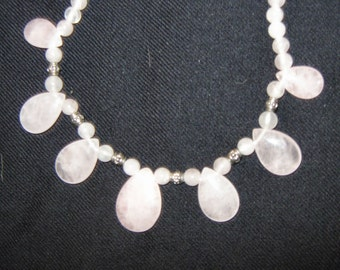 ROSE QUARTZ NECKLACE 20 inches long natural rose quartz necklace