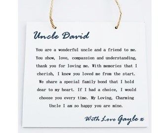 Personalised Square Wooden  Plaque. Uncle Poem Gift.