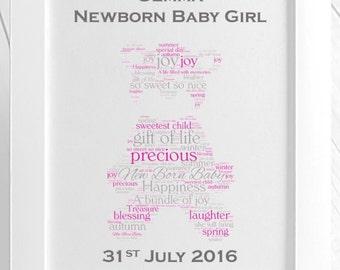 Personalised New Born Teddy Bear Framed Print