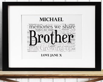 Personalised Brother Framed Word Art