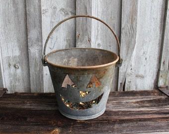 Vintage Galvanized Pail Pumpkin Jack O Lantern Light,gift,fall,rustic home decor,metal,decoration,creative,repurposed halloween,rustic