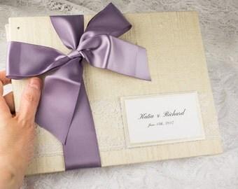 Elegant Wedding Guest Book, Ivory Wedding Guest Book, Off White, Vanilla, Silver Purple, Dupioni Silk, Wedding Shower Gift, MADE UPON ORDER
