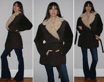 Vintage PENNY LANE Coat / BOHO Fall, Winter Jacket / Suede Leather, Faux Fur Trim / Mossy Brown / Hippie, Groupie / Plus Size
