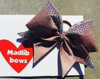 Latte fabric cheer bow!!