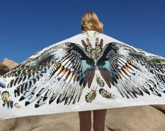 "Boho Beach Towel, Wings, Large soft 74x37"", 32x64"" or hand towel boho wing towel, resort towel, gift, festival Personalized option, bohemian"