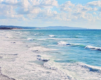 Ocean Photography San Diego California Beach - Pastel, Waves, Foam, Clouds, Sea, Pacific Ocean Fine Art Home Decor Print