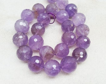 16mm Faceted Round Shape Rose Amethyst Beads