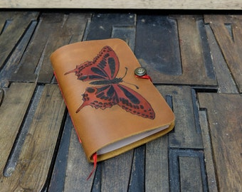 Leather Travel Journal with pyrography Butterfly design