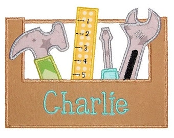 Personalized Tool Box Hammer Screwdriver Applique Shirt or Onesie Boy or Girl