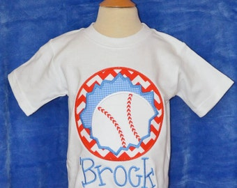 Personalized Baseball Patch Applique Shirt or Onesie Boy