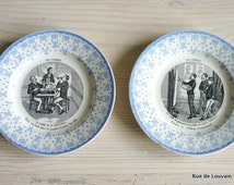 Antique French 'Assiettes Parlantes', illustrated plates, humoristic illustrated plates, Victorian plates with texts