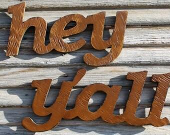Hey Y'all, Southern Saying, Handmade Hey Yall, Southern Slang, Home Decor, Southern Wall Decor