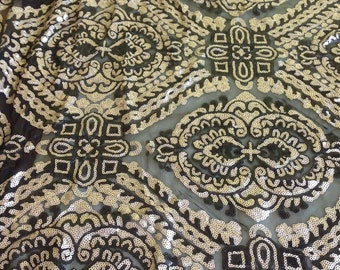 1 Yard Sequin Dress Fabric,Gold Sequin Fabric,Black and Gold Floral Sequin,Sequin Mesh Lace Fabric